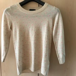 JCrew WOOL sweater polka dot embroidered XS PETITE